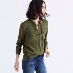 Madewell | Silk Lace-Up Shirt Blouse Long sleeve